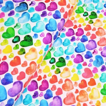 Watercolor Hearts BW-Jersey